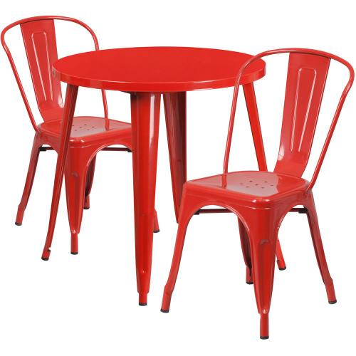30'' Round Red Metal Indoor-Outdoor Table Set with 2 Cafe Chairs