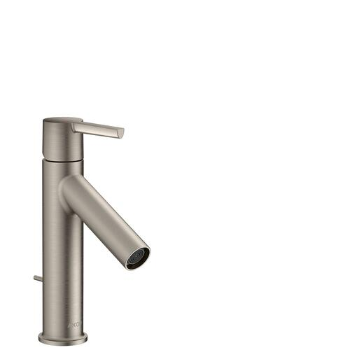 Stainless Steel Optic Single lever basin mixer 100 CoolStart with lever handle and pop-up waste set