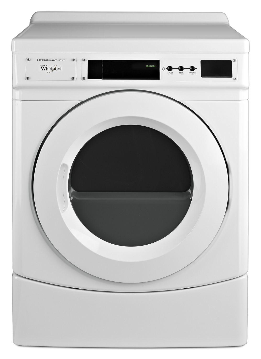 "Whirlpool27"" Commercial Electric Front-Load Dryer, Non-Vend White"