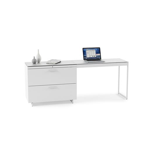BDI Furniture - Centro 6416 Lateral File Cabinet in Satin White Painted Oak Grey Glass