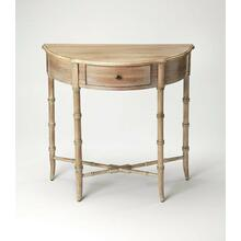 This charming console table is sure to be a cherished addition to any space. Featuring four gracefully tapered legs with faux bamboo turnings and a matching stretcher, it is carefully crafted from rubberwood solids and wood products with an oak veneer top