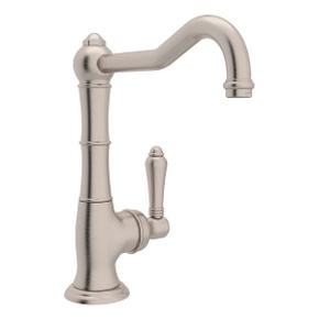 Cinquanta Single Hole Column Spout Bar and Food Prep Faucet - Satin Nickel with Metal Lever Handle