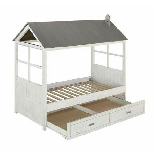 ACME Tree House II Twin Bed - 37170T - Weathered White & Washed Gray