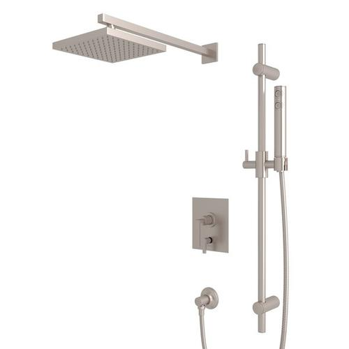 Satin Nickel WAVE PRESSURE BALANCE SHOWER PACKAGE with Wave Metal Lever