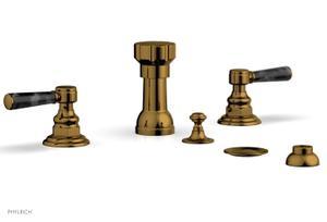 HENRI Four Hole Bidet Set - Black Marble Lever Handles 161-62 - French Brass Product Image