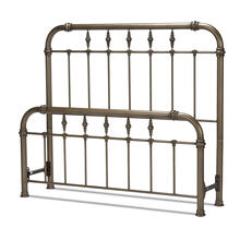 See Details - Vienna Metal Headboard and Footboard Bed Panels with Spindles and Intricately Carved Finials, Aged Gold Finish, Queen