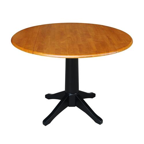 John Thomas Furniture - Round Dropleaf Pedestal Table in Cherry / Black