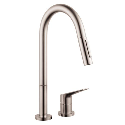 Stainless Steel Finish 2-hole single lever kitchen mixer 220 with pull-out spray