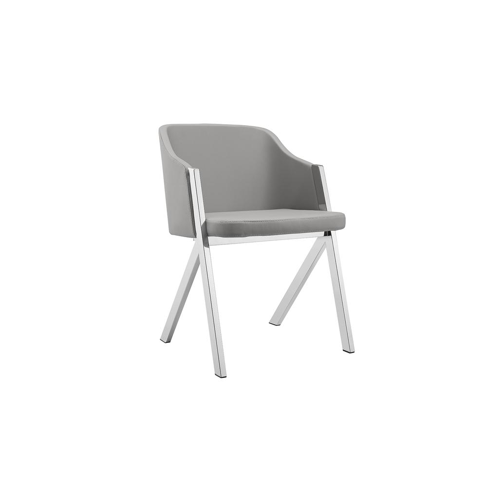 The Acorn Arm Light Gray Eco-leather Dining Chairs