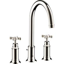 Polished Nickel Widespread Faucet 180 with Cross Handles and Pop-Up Drain, 1.2 GPM