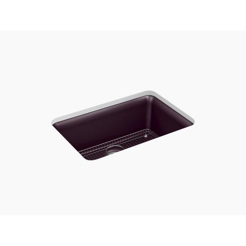 """Matte Black Plum 27-1/2"""" X 18-5/16"""" X 9-1/2"""" Neoroc Undermount Single-bowl Kitchen Sink With Rack"""