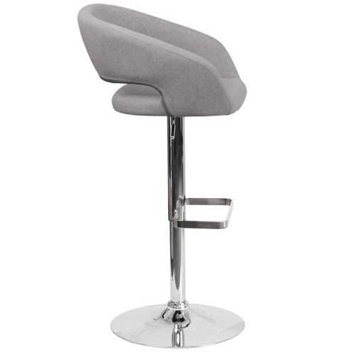 Contemporary Gray Fabric Adjustable Height Barstool with Chrome Base