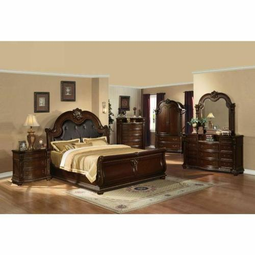 ACME Anondale Queen Bed - 10310Q - Espresso PU & Cherry