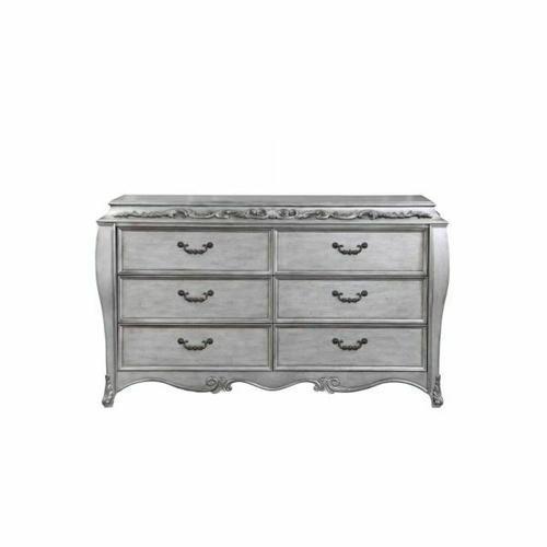 ACME Leonora Dresser (Jewelry Tray) - 22145 - Glam - Wood (Poplar), Wood Veneer (Ash), Poly-Resin, MDF - Vintage Platinum
