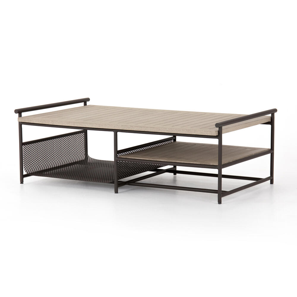 Washed Brown Finish Ledger Outdoor Coffee Table