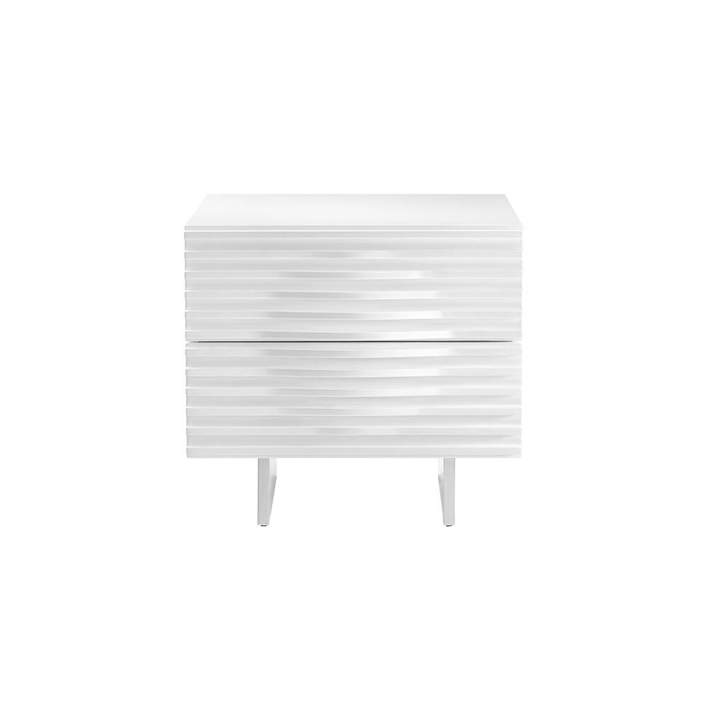 The Moon Nightstand In High Gloss White Lacquer With Brushed Stainless Steel