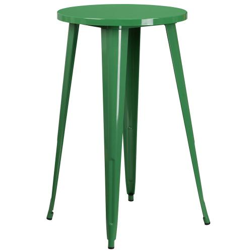 24'' Round Green Metal Indoor-Outdoor Bar Height Table