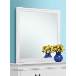 Louis Philippe White Dresser Mirror With Beveled Edge