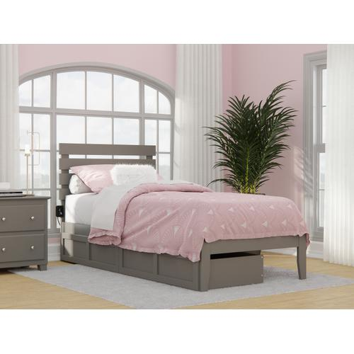 Oxford Twin Extra Long Bed with USB Turbo Charger and 2 Extra Long Drawers in Grey
