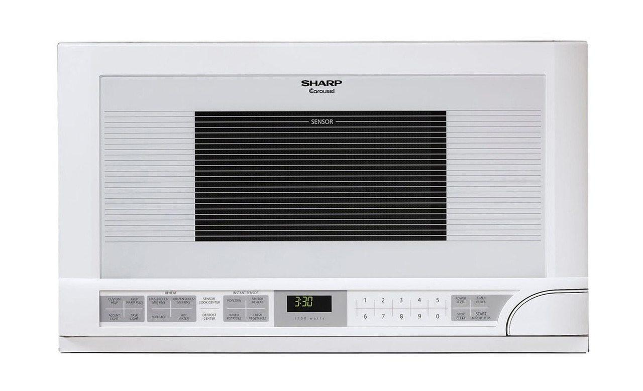 Sharp1.5 Cu. Ft. 1100w White Sharp Over-The-Counter Carousel Microwave Oven