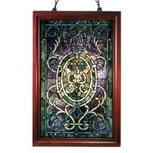 View Product - Tiffany-style Purple Wooden Frame Window Panel