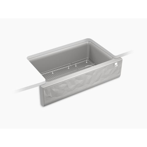 Matte White Undermount Single-bowl Farmhouse Kitchen Sink With Faceted Design