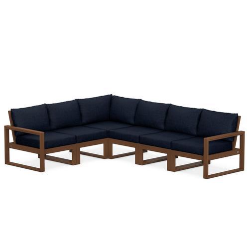 Polywood Furnishings - EDGE 6-Piece Modular Deep Seating Set in Teak / Marine Indigo