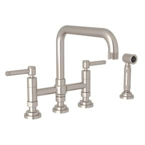 Campo Deck Mount U-Spout 3 Leg Bridge Faucet with Sidespray - Satin Nickel with Industrial Metal Lever Handle