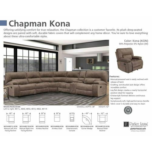 Parker House - CHAPMAN - KONA Manual Left Arm Facing Recliner