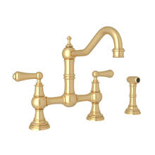 Edwardian Bridge Kitchen Faucet with Sidespray - Satin English Gold with Metal Lever Handle
