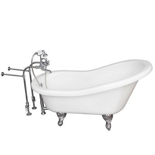 "Fillmore 60"" Acrylic Slipper Tub Kit in White - Polished Chrome Accessories"