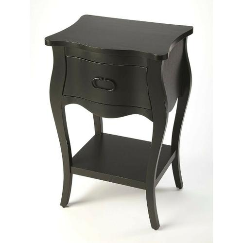 Butler Specialty Company - Crafted from mahogany veneer and wood products in a stylish black finish, this nightstand is perfect for stowing bedside essentials. This lovely nightstand showcases a single drawer with iron hardware, a scalloped apron and lower display shelf.