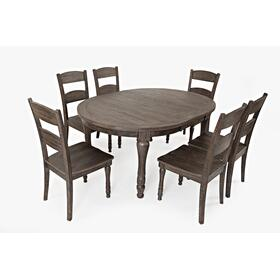 Madison County Round To Oval Table With 6 Chairs - Barnwood