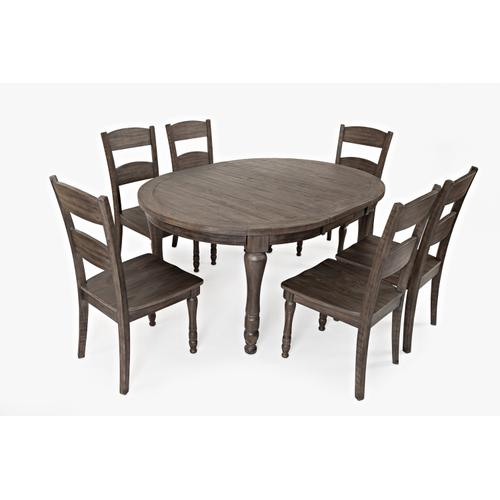 Madison County Round To Oval Table & 6 Chairs Barnwood