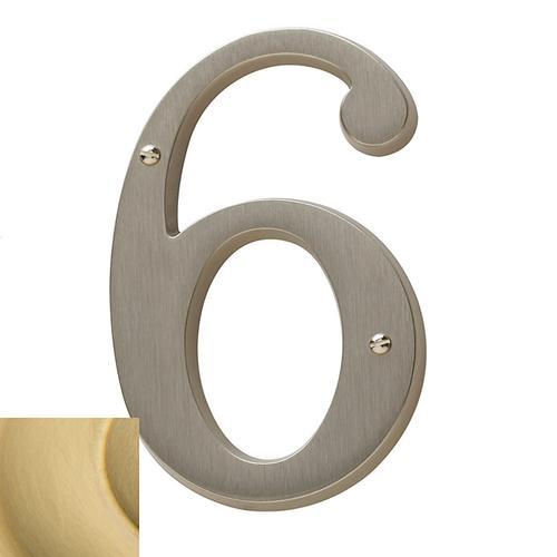 Lifetime Satin Brass House Number - 6