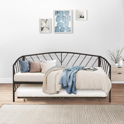 Product Image - Essex Twin Metal Daybed With Rollout Trundle, Gray Bronze