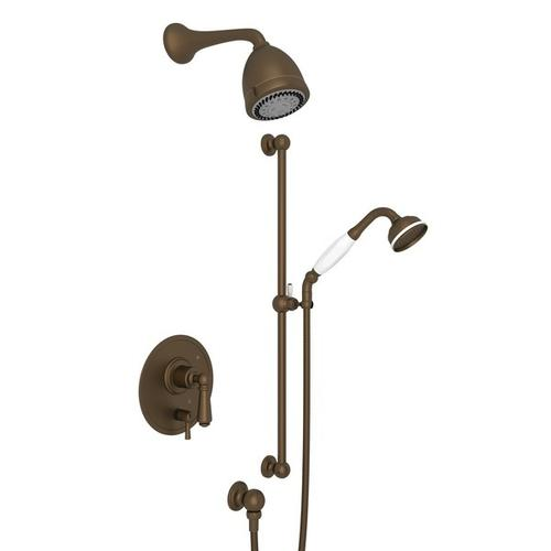 English Bronze Perrin & Rowe EDWARDIAN PRESSURE BALANCE SHOWER PACKAGE with Edwardian Metal Lever