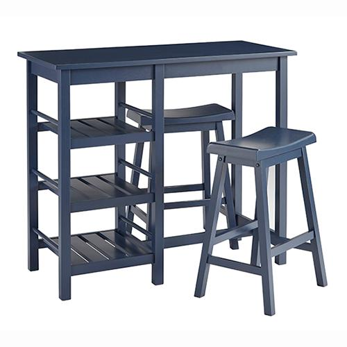 Counter Table \u0026 2 Stools - Distressed Navy Finish