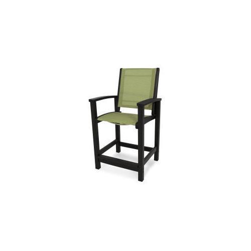 Polywood Furnishings - Coastal Counter Chair in Black / Kiwi Sling