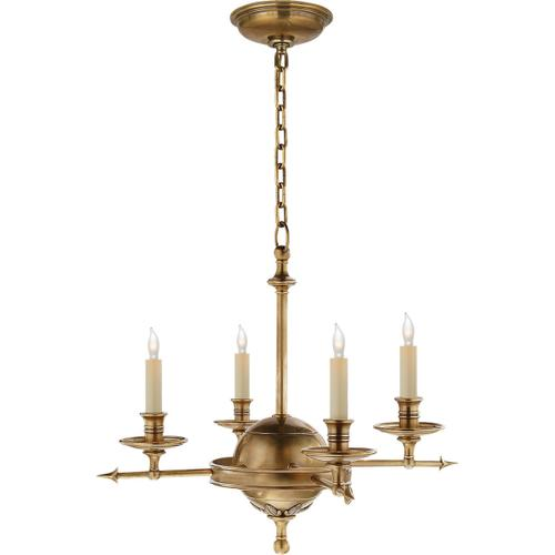 Visual Comfort - E. F. Chapman Leaf And Arrow 4 Light 16 inch Antique-Burnished Brass Chandelier Ceiling Light