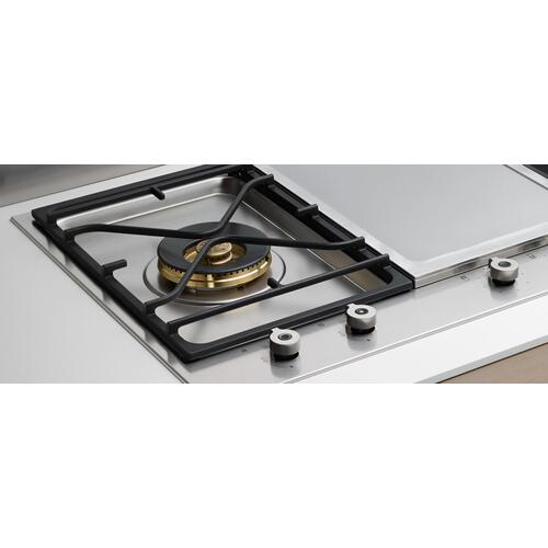 36 Segmented cooktop 3-burner and griddle Stainless Steel