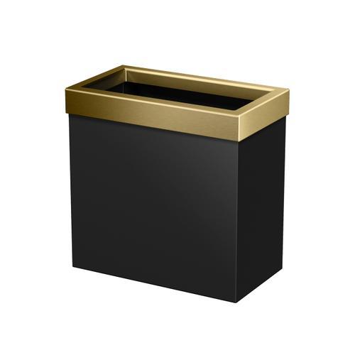 Rectangle Modern Waste Basket in Matte Black/Brushed Brass
