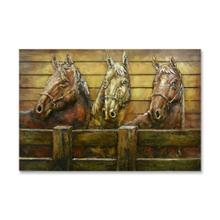 Horse Trio 32x48 Metal and Wood Wall Art