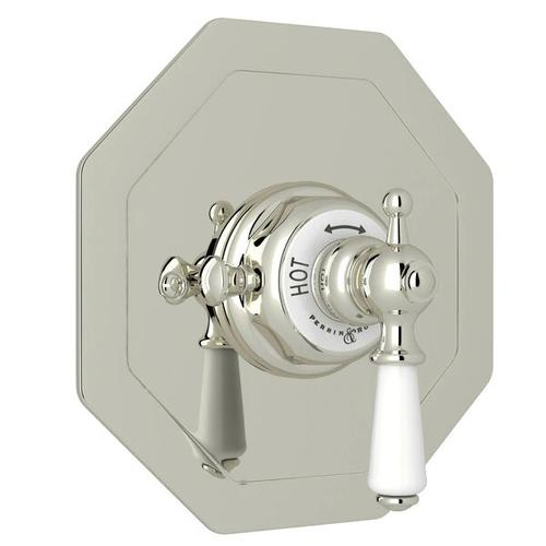 Edwardian Octagonal Concealed Thermostatic Trim without Volume Control - Polished Nickel with Metal Lever Handle