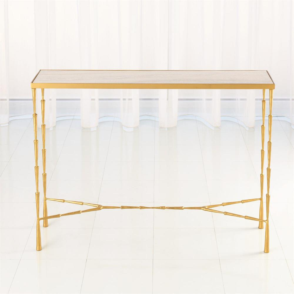 See Details - Spike Console-Antique Brass w/White Marble