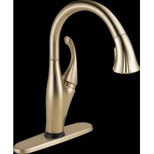 Champagne Bronze Single Handle Pull-Down Kitchen Faucet with Touch 2 O ® and ShieldSpray ® Technologies