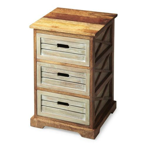 "This charming chairside chest offers three drawers for convenient storage and open ""X "" side supports for a modern aesthetic. Handcrafted from mango hardwood solids and wood products, it features a two-tone finish of washed and natural wood tones."