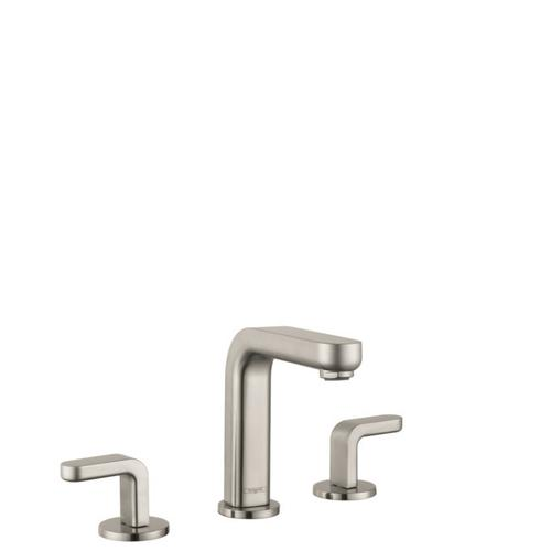 Brushed Nickel Widespread Faucet 100 with Lever Handles and Pop-Up Drain, 0.5 GPM