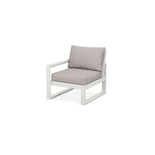 EDGE Modular Left Arm Chair in Vintage White / Weathered Tweed