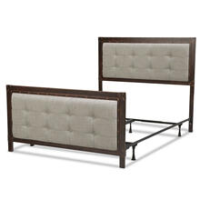 Gotham Complete Bed with Dark Latte Upholstered Metal Panels and Antique Industrial Studs, Brushed Copper Finish, Queen